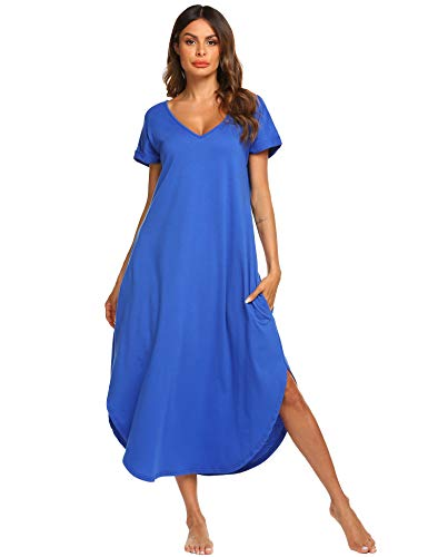 Ekouaer Sleepshirts Women's Cotton Sleepwear Short Sleeve Long Loungewear Gown (Snorkel Blue,M)