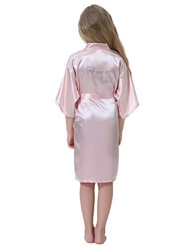 Aibrou Bata Satén Kimono Niñas Flores Bata de Boda