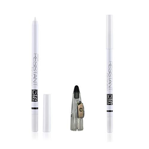 White Waterproof Eyeliner Pencil with Sharpener, 2 Count Smudgeproof Long Wearing Eyeliner Pencil Makeup Pen