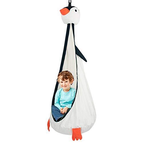 ROCK1ON - Silla colgante para niños con cojín hinchable, 100 % algodón, para uso en interiores y exteriores (diámetro 70 x 150 cm)
