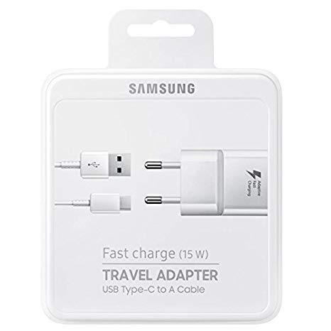 Set di ricarica Caricabatterie Fast Charge 15W Compatibile Samsung + Cavo Type-C 1,2 mt. per Galaxy S8 S8+ S9 S9+ Note 8 Note 9 in Confezione Sigillata Bianco/Nero (Bianco)