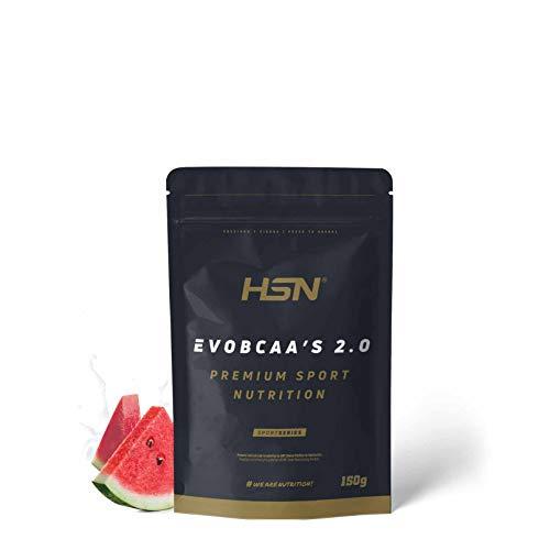 HSN BCAA con Glutamina Evobcaa's 2.0 | Aminoácidos Ramificados Ratio 12:1:1 Leucina + Valina + Isoleucina | Recuperador Muscular + Ganar Músculo | No-GMO, Vegano, Sin Gluten | Sandía | 150 gr