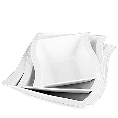 MALACASA Large White Bowls, Porcelain Square Salad Pasta Bowls(1800ML/1050ML/620ML), Serving Bowls Shallow Plates for Ramen Fruit Cereal Salad Bowls,3 Packs, Series Flora -  FLORA-3SB