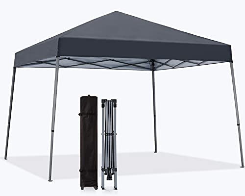 MASTERCANOPY Portable Pop Up Canopy Tent Beach Canopy with Large Base (10x10,Dark Gray)