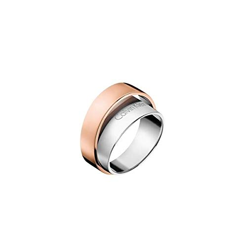 Calvin Klein Damen-Damenring Edelstahl 56 Silber/rosé 32003536