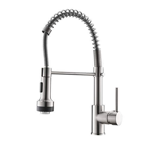 QD Wasserhahn Küche Gebürstetes Nickel mit LED Mischbatterien fuer Kueche Gastro Armatur Einhandmischer für Küchen Spüle