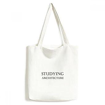 DIYthinkerShort Phrase Studying Architecture Tote Canvas Bag Shopping Satchel Casual Handbag