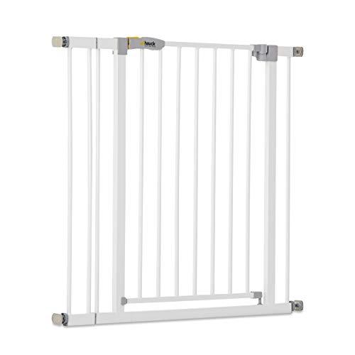 Hauck Open N Stop KD Treppengitter, inkl. 9cm Verlängerung 84-89 cm,ohne Bohren, kompatibel mit Verlängerungen von 9 cm und 21 cm und Y-Spindel, beidseitig schwenkbar, Metall, weiß