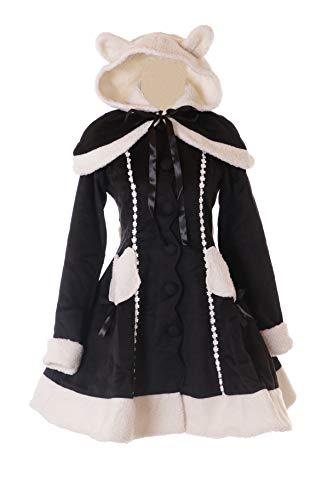 JL-901 zwart dames winter teddy capuchon jas met cape Victorian klassiek Gothic Lolita kostuum Cosplay