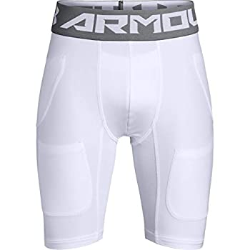 Under Armour Boys  Football 6 Pocket Girdle  White  100 /Graphite  Youth Medium