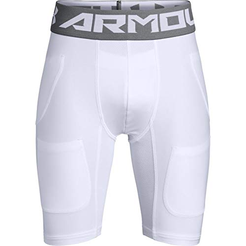Under Armour Boys' Football 6 Pocket Girdle , White (100)/Graphite , Youth Large