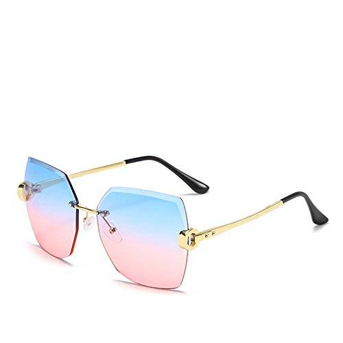Gafas de sol grandes gafas de sol sin montura retro Gafas de sol de lujo Sexy Square Sunglasses con incrustaciones de gafas de sol de diamantes de sol-0c3