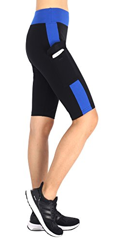 Zinmore Women's Knee Length Tights Yoga Shorts Workout Pants Running Leggings with Pockets (Small, Black/Blue)
