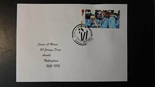 GB Postmark Cricket England World Cup Winners 26 SEP 2019 London NW8#2 SPORT wicket bails cricket cover Typed Address JandRStamps