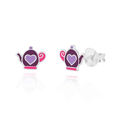 Sterling Silber Kinder Mädchen Pink Tee Topf Emaille Ohrstecker Ohrringe/Geschenkbox