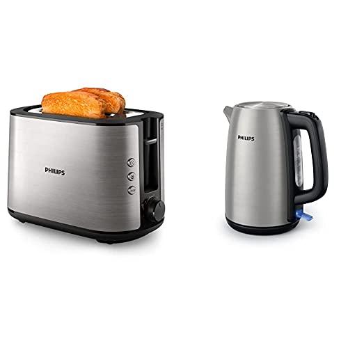 Philips HD2650/90 Toaster Edelstahl (950 W, 8 Bräunungsstufen, Brötchenaufsatz, Auftau- und Aufwärmfunktion) & Daily Collection HD9351/90 Elektrischer Wasserkocher, 1,7l, 2200W, Edelstahl