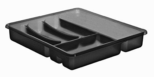 Rotho Basic Besteckkasten mit 6 Fächern, Kunststoff (BPA-frei), anthrazit, (39 x 32 x 6 cm)