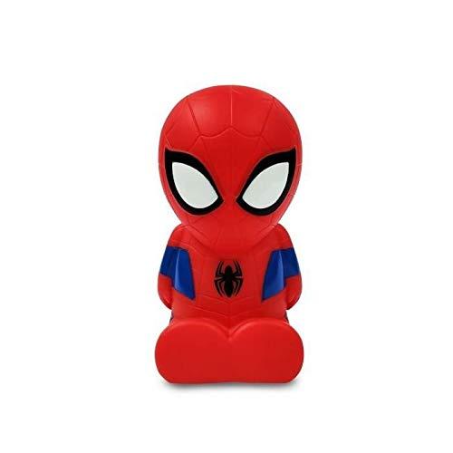 LEXIBOOK- Spider-Man Nocturna Colorida de Bolsillo LED para niños, Cambio de Color, Luz Suave, Baterías, Azul/Rojo, NLJ01SP
