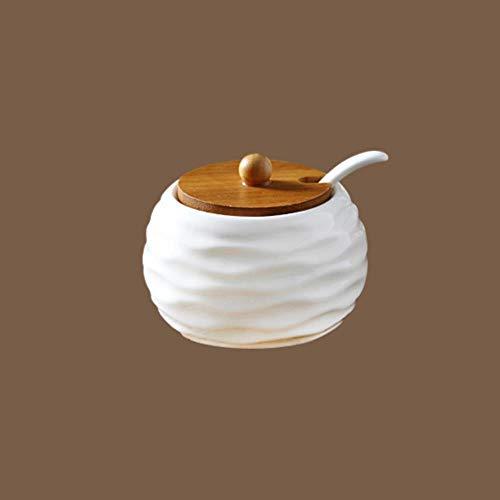 Keramische Kruiderij Opbergpot Huishoudelijke Kruiden Pot Bamboe Lade Kruidkruik Sojasaus Doos Zout Suiker Kan Kruiden Potjes Keuken Organizer Gereedschap, Een Stuk