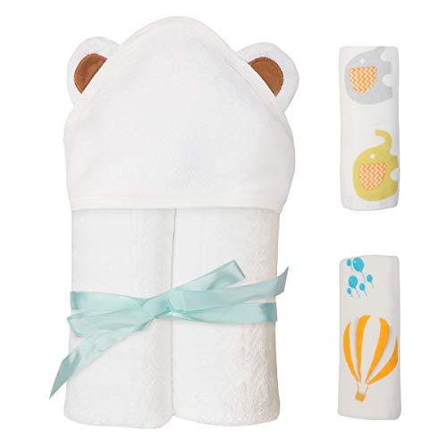 Dsaren 3 Piezas Toalla Capucha Bebe Capa Baño Bambu Toalla Bebe Recien Nacido con Toalla Cara Bebe Suave Regalo Baby Shower Niño Niña (3 PIEZAS)
