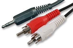 3,5-mm-Mini-Klinkenstecker, Stereo auf Doppel-RCA-Phono-Aux, Audiokabel, rot und weiß, 1,2m bis 10 m 2m Schwarz
