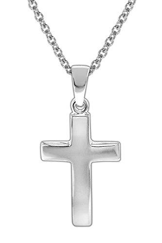 trendor Kinder Halskette mit Kreuz 925 Silber Kinder Halskette Silber, Halskette für Mädchen und Jungen, Silberkette mit Kreuz, Kreuzkette Silber 35868