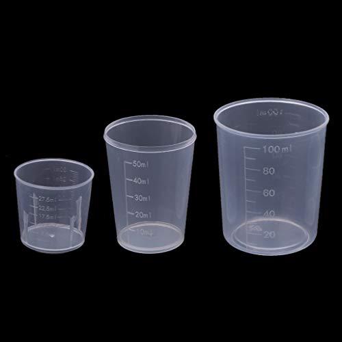 Senoow - Set di 3 misurini in resina epossidica per fai da te, 30 50 ml, 100 ml