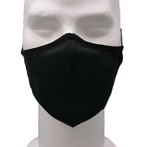 Kanguru Maske Schwarz, YPM, waschbar, aus 3-lagigem Stoff, Made in Italy, Filterung, wasserabweisend, mit 1 Einwegfilter. Herren, 100 g