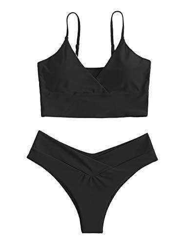 DIDK Bikini de 2 piezas para mujer. Negro L