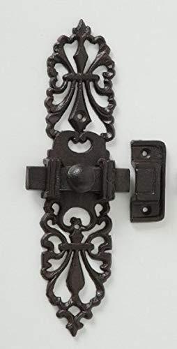Metall verzierter Türriegel Schieberiegel braun durchbrochene Ornamente H24xB6xT3,5cm