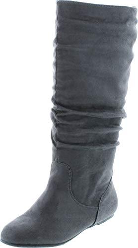 Top Moda Data-1 Women's Shoes Cute & Comfort Round Toe Flat Heel Slouchy Mid Calf Boot (9, Grey)
