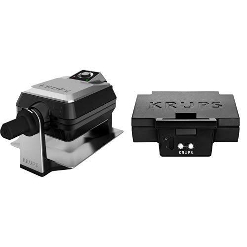 Krups FDD95D Waffelautomat Professional & Krups FDK 451 Sandwich-Toaster (850 Watt, Toastplatten 25 x 12 cm) schwarz