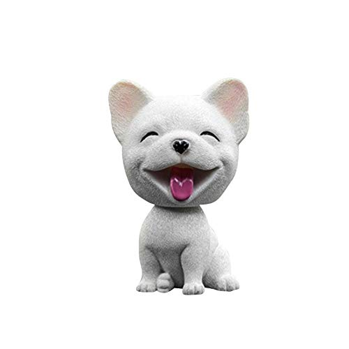 Yoki Handmade Childhood Memory BobbleHead Dogs Car Dash Puppy for Car Vehicle Decoration Rocking Head Dog Made by Superior Natural Resin French Bulldog 1pc