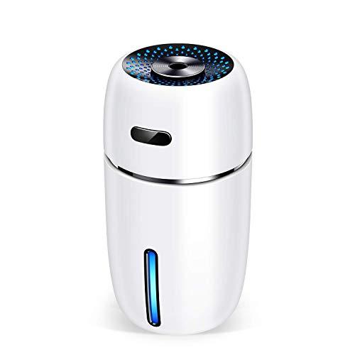 Mini Humidificador Portátil Purificador de Aire con 7 Colores de Luz LED de Noche, Humidificador de Coche USB,Dos Modos de...