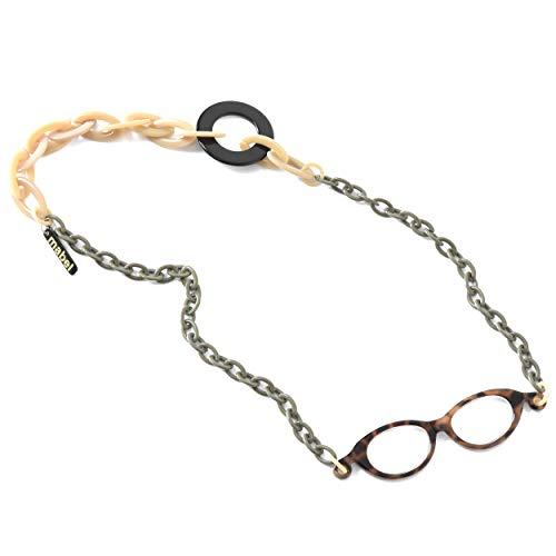 イタリア製 拡大鏡 ネックレス ペンダントルーペ 1.75倍 首掛け 眼鏡 おしゃれ 軽量 べっ甲 ベージュ カーキ
