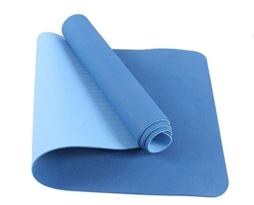 XIAOQBH Esterilla Yoga 6mm Antideslizante Yoga Mat 183x61cm Gimnasia de los Deportes de Fitness Pilates Mat Gimnasia Camping Colchonete cojín con el Bolso Vendaje Esterilla Deporte (Color : Blue)