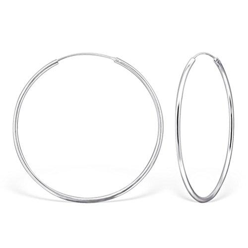 DTPsilver® 925 Sterling Silber Creolen Ohrringe - Klein/Mittelgroße/Groß - Dicke 2 mm - Durchmesser: 70 mm