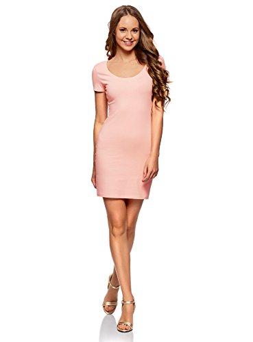 oodji Ultra Damen Enges Kleid aus Baumwolle, Rosa, DE 32 / EU 34 / XXS