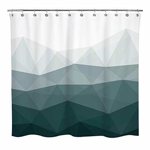 Sunlit Designer Shower Curtain, Popular Shower Curtain, Ombre Dark Green Fabric Shower Curtains for Bathroom Decor, Contemporary Bathroom Curtains, Dark Green