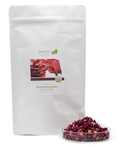 Echte Rosenblätter getrocknet rot | Herrlich duftend, volles Aroma | 50g | natürlich rein | Rosenblütentee Essblüten