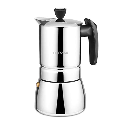 AMFOCUS Stovetop Espresso Coffee Maker - Stainless Steel Moka Pot 6 Cups Espresso Pot 300ml/10oz/6 Cup (1 Cup=50ml)