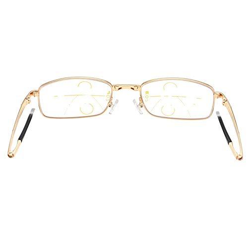 Reading glasses Lunettes de Lecture Pliantes compactes, Lecteur d'Ordinateur Portable Blu-Ray, Lunettes pour Hommes et Femmes Demi-Monture en métal, Zoom Intelligent, Double Usage, dioptrie (+3,0)