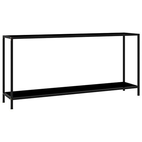 vidaXL Konsolentisch Flurtisch Konsole Beistelltisch Sideboard Wandtisch Frisiertisch Glastisch Deko Schwarz 160x35x75cm Hartglas Stahl