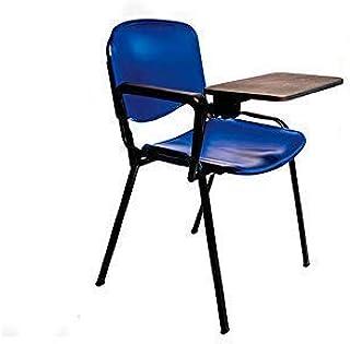AULAMOBEL Lote De 4 Sillas Apilables con Pala Abatible para Apuntes - Modelo 43P - Sillas con Brazo Extensible y Flexible para Aulas, Academias y Oficinas (Negro)