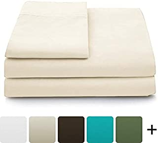 Cosy House Collection Luxury Bamboo Bed Sheet Set - Hypoallergenic Bedding Blend from Natural Bamboo Fiber - Resists Wrinkles - 4 Piece - 1 Fitted Sheet, 1 Flat, 2 Pillowcases - Full, Cream