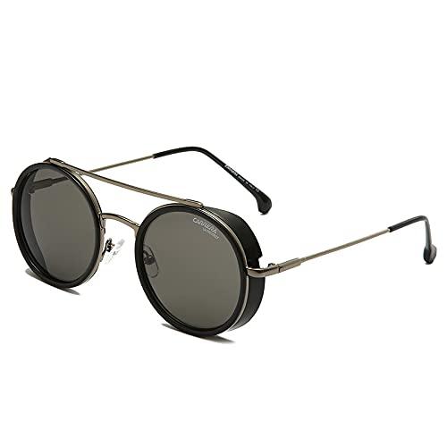 TUEWDFSA Gafas de Sol Gafas de Sol Punk Redondas Hombres Mujeres Vintage Retro Conducción Ojo Gafas UV400 Gafas de Pesca clásicas Producto al Aire Libre (Objektiv-Farbe : Matte Black Gray)