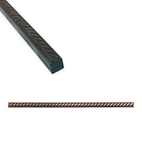 Rope Tile Trim 1/2 x 12 inch Shower Ceramic Tile Edge Pencil Liner Backsplash Wall Molding - Antique Bronze Metal Finish (12 Pack)