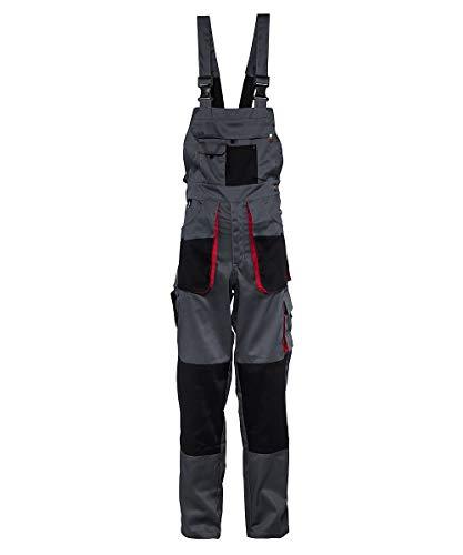 Stenso Torin - Herren Arbeitslatzhose für die Arbeit mit vielen Taschen - Grau/Rot/Schwarz XS