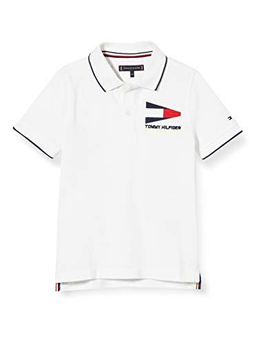 Tommy Hilfiger Jungen Badge Polo S/s Poloshirt, Weiß (White 658-170 Ybr), 3-4 Jahre (Herstellergröße: 4)