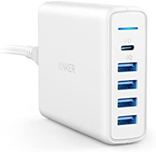Anker PowerPort I Premium 5 portów 60 W, USB C i USB A ładowarka ścienna, Power Delivery, kompatybilna z Apple MacBook, Ne...